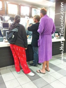 Photo of Purple Bathrobe McDonalds Santa Monica California Hurts To Look
